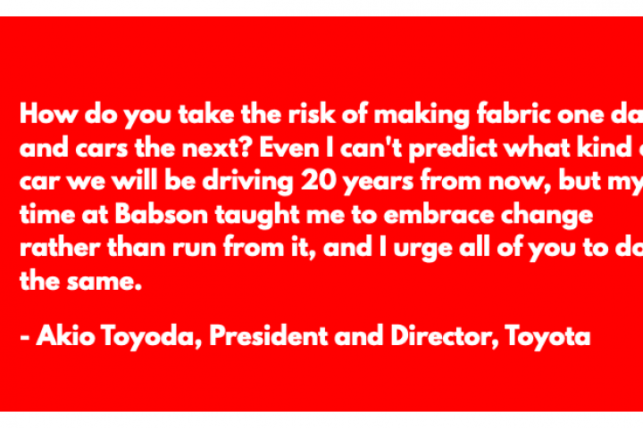 Toyota CEO, Akio Toyoda inspires students at Babson College